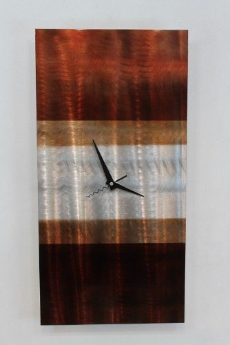 Statements2000 Modern Silver, Mahogany and Tan Abstract Wall Clock Sculpture - 3D Functional Home Office Decor Art Accent - Nocturnal by Jon Allen - 24-inch - This functional art is as beautiful as it is practical! Nocturnal by Jon Allen is an accurate timekeeper that's also a true piece of artwork. This wall clock will complement any contemporary, modern, or traditional home décor. This unique wall clock measures 24 in x 12 in x 2 in (60.96 cm x 30.48 cm x 5.08cm). Each piece is handmade with precision, is signed by American artist Jon Allen and includes a certificate of authenticity. All clocks are quartz movement tested for time accuracy. They are battery powered and come with one AA battery. Hanging is simple thanks to our pre-installed one of a kind brackets! - wall-clocks, living-room-decor, living-room - 41TKaZuW4ML -