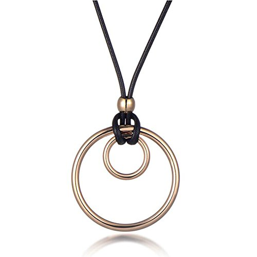 Alloy Leather Large Small Double Rings Hoops Charm Sweater Chain Pendant Necklace for Women, Golden