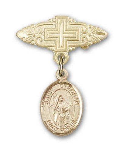 Icecarats Or Bijoux De Créateurs Rempli R. Deborah Broche De Badge Charme Avec Une Croix X 3/4