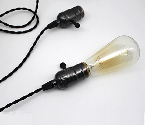 E26/ E27 Solid Industrial Triple Light Sockets, Sopoby Vintage Edison Hanging Textile Pendant Light Cord Kit with Plug by Sopoby (Image #6)