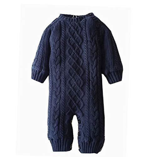 Goodkids Toddler Boys Girls Layette Cable Knit Sweater Romper Coral Fleece Lining Warm Jumpsuit Outfits Clothes (Navy 74)