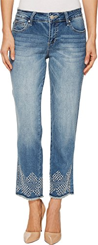 Jag Jeans Women's Logan Straight Ankle Jean, Embroidered Horizon Blue, 10