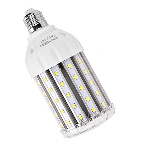 25W E26 LED Corn Light Bulb, MHtech 200 Watt Equivalent LED Bulb E26 Cool White Daylight 6000K 2500 Lumen Large Area Light Bulb LED for Indoor Outdoor Garage Factory Warehouse Backyard Garden