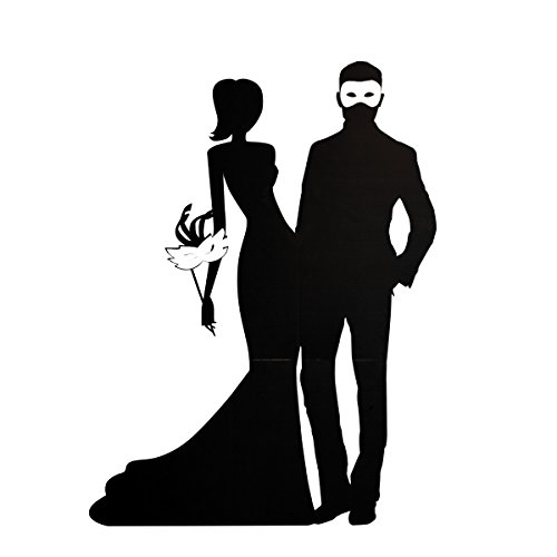 Black Masquerade Couple Lifesize Cardboard