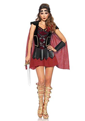 Leg Avenue Women's 4 Piece Trojan Warrior Costume, Black/Burgundy, (Trojan Halloween Costume)