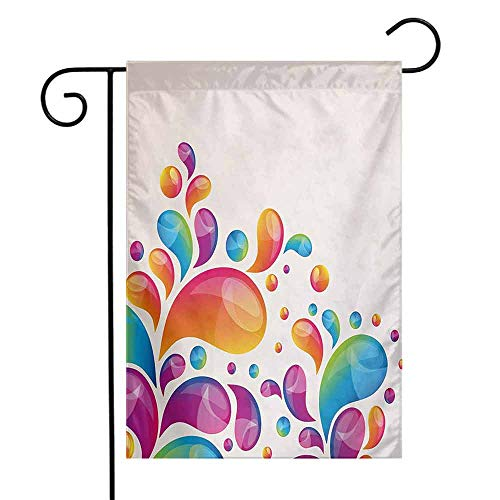 (seedine Outdoor Flag Holiday Decoration Colorful Cute Raindrops in Different Size in Gradient Colors Abstract Splash Style Design 12.5 x 18 Inch Multicolor)