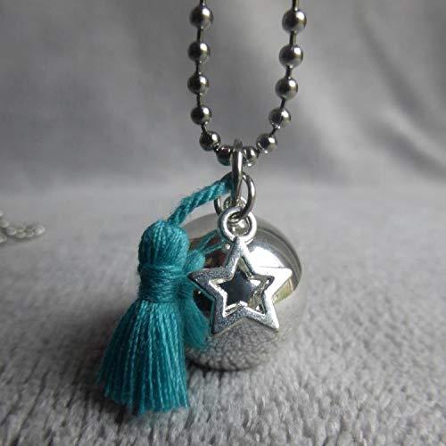 Bola de Grossesse avec chaine Arif, PERSONNALISABLE, argenté avec pompon bleu turquoise et étoile évidée argenté avec pompon bleu turquoise et étoile évidée Naïris bijoux