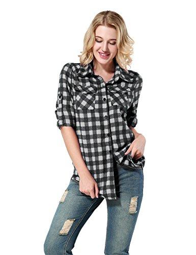 Yidarton Donna Camicia a Quadro Classica Bottone Tasca Camicetta Lunga Manica Blusa per Donna Nero