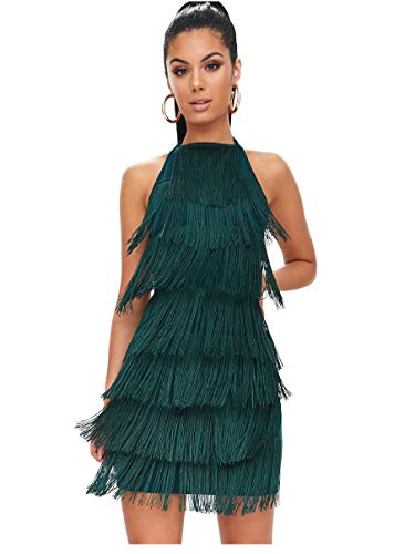 L'VOW Women' Sexy Open Back Skirt Gatsby Cocktail Party Fringed Flapper Costume Dress (XL, Dark Green)