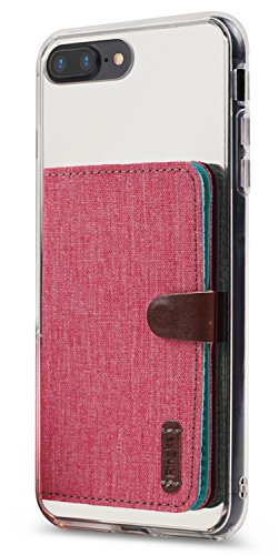 Ringke Flip Card Holder ID Adhesive 3M [Deep Pink] Premium Stick Fashion Multi-Card Slot Wallet Case Credit Card Cash Pouch Attachment Compatible with Most Smartphones, Android and More
