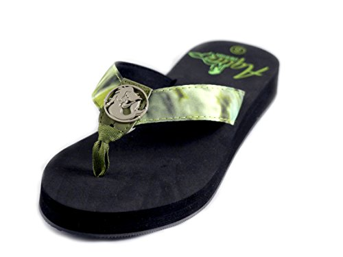 Aqua Design Flip Flops for Women: Superior Comfort Beach Womens Sandals: Green Bayou/Black: Size 7