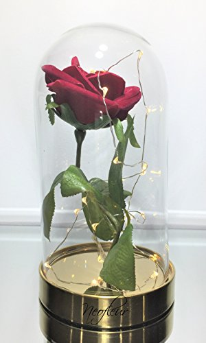 "-[ ""Beauty and the Beast"" Enchanted Silk Red Rose with Led Lights in a beautiful Glass Do"