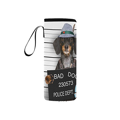 - InterestPrint Bad Dog Police Station Neoprene Water Bottle Sleeve Insulated Holder Bag 7.04oz-12.67oz, Hipster Animal Hat Sport Outdoor Protable Cooler Carrier Case Pouch Cover with Handle