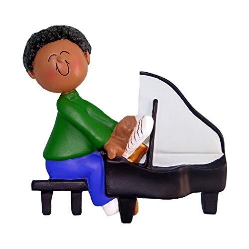 - Personalized Musician Boy Playing Piano Christmas Tree Ornament 2019 - African-American Man Pianist Performs Recital Orchestra Keyboard Hobby Teacher Black - Free Customization (Male Ethnic)