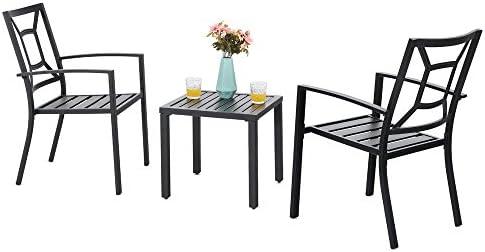 PHI VILLA Metal Outdoor Patio Bistro Furniture Set