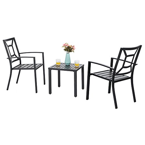 PHI VILLA Metal Outdoor Patio Bistro Furniture Set with 2 x Dining Chairs and 1 x Small Square Table, Black (Furniture Iron Wrought Pool)