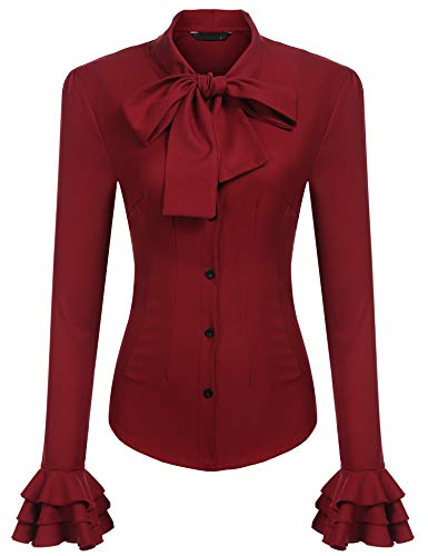 Zeagoo Women Vintage Styles Bow Tie Neck Long Sleeve Solid Ruffle Shirts Blouses Wine Red ()