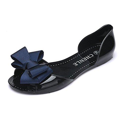[テンカ]サンダル レディース レインパンプス フラット オープントゥ 歩きやすい 夏 ぺたんこ 美脚 歩きやすい 日常 疲れない 海辺 お洒落 お出かけ デート 雨の日 リボン 可愛い 雨靴