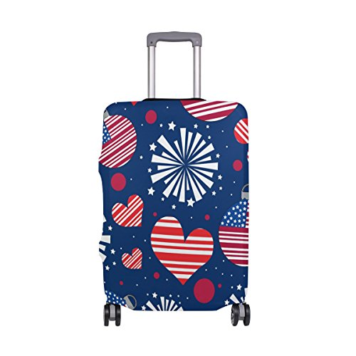 American USA Heart Love Striped Stars Red Navy Suitcase Luggage Cover Protector for Travel Kids Men Women by ALAZA