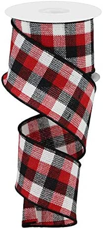 """5 Yards Woven Ribbon Trim 2/"""" Wide Black White Red"""