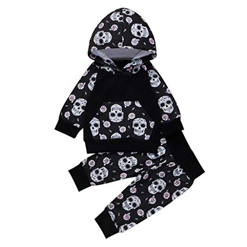 4Pcs Halloween Outfit Set Baby Boys Girls Funny Romper Black