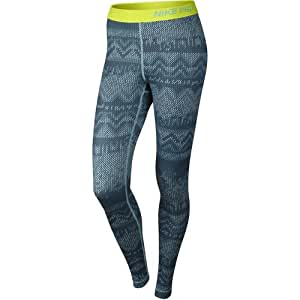 Nike Women's Pro Hyperwarm Compression Nordic Tight (Blue/Yellow , Medium)