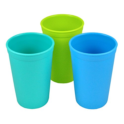 Milk Recycled (Re-Play Made in the USA 3pk Drinking Cups for Baby and Toddler - Aqua, Sky Blue, Green (Under The Sea))