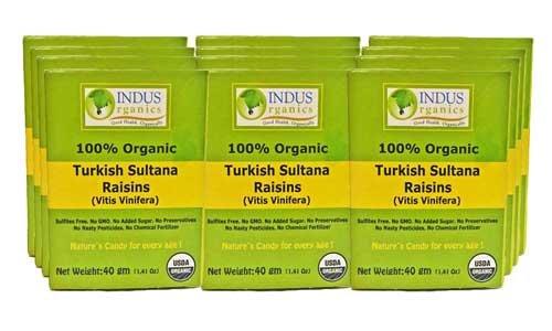 Indus Organic Turkish Sultana Raisins, (Pack of 12), 40 gm, Sulfate Free, No Added Sugar, Freshly Packed, Premium Grade