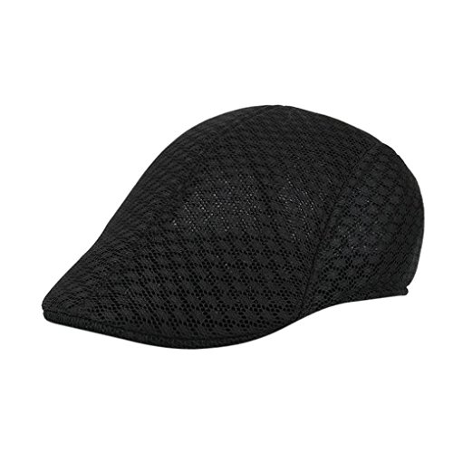 Aritone Men Breathable Mesh Beret Caps Handsome Fitted Solid Newsboy Hats Low Profile Sunhat (Black)