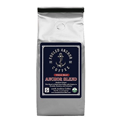 Whole Bean Organic Specialty Coffee by Fouled Anchor, Medium Roast Fair Trade, Great Tasting Small Batch Roasted, 11.5 oz