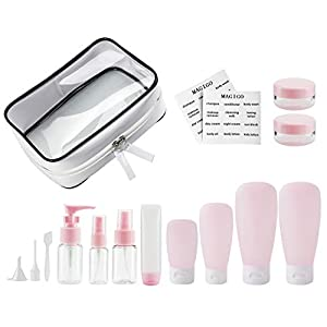 MAGIGO Pink Toiletries Leak Proof Travel Bottle Set (16 Pack), TSA Approved Airline Carry-On with Clear Bags for Women