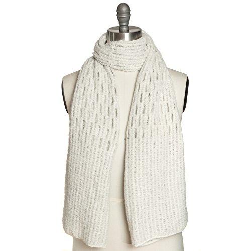 Free Spirit Crochet Knit Honeycomb Stitch Muffler Scarf Shawl for Women & Girls - Lightweight & Versatile for all Seasons with 6 Colors (Polar White)