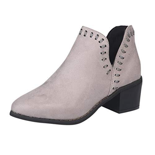 Bottines Femmes, BaZhaHei Femmes Dames Automne Chaussures Cheville Solide Roman Martin Bottes Courtes Chaussures Simple Gris