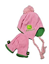 John Deere Toddler Pink Hat and Mittens Set