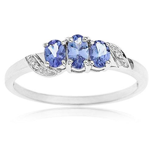 Bague - A79R050896W - Femme - Or blanc (9 carats) 1.57 Gr - Tanzanite