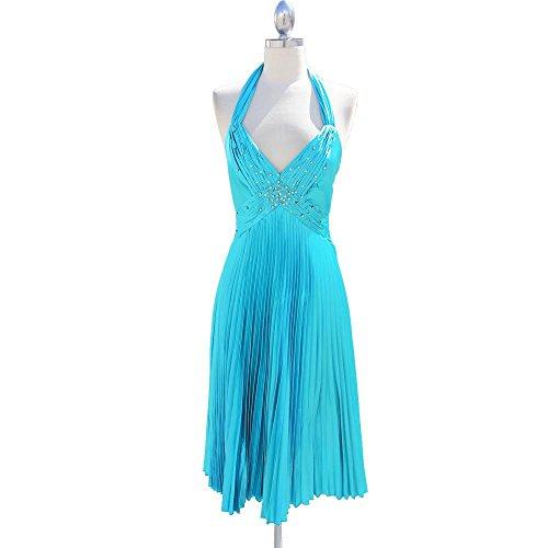 with Women's Aris Cocktail Bodice Halter Rhinestone Blue Pleated A Dress gxYg7Bw