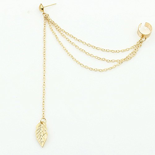 s' Fine Leaf Chain Tassel Dangle Cuffs Stud Wraps Stud Earrings Young Jewelry Gift for Woman Ladies (Gold) ()