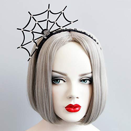 StyleZ Halloween Spider Web Ghost Claw Devil Horn Pumpkin Hair Hoop Cosplay Party Ball Headdress Devil Headband (Rose Cobweb) ()