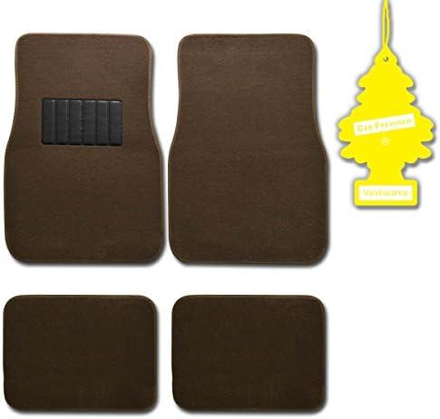 BDK MT-100-DB+LT 4 Pc Universal Carpet Car Mats w/Heel Pad + Little Tree (Vanilla)
