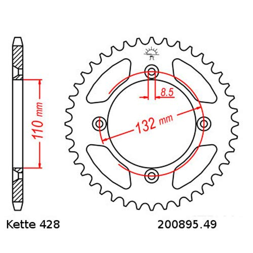 Kettensatz geeignet f/ür KTM SX 85 GROSSES RAD 05-15 Kette RK GS 428 HSB 122 offen GOLD 14//49