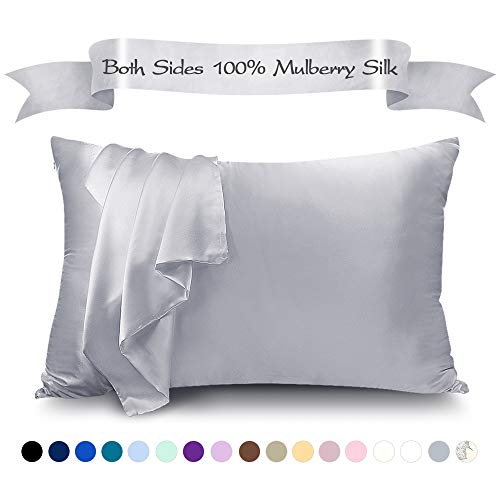 LULUSILK Mulberry Silk Pillowcase for Hair and Skin, 100 Pure Silk Pillow Case Cover 16 Momme with Hidden Zipper, Silvergrey, King Size, 1 Pack