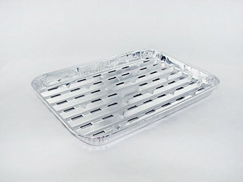 Pans Aluminum Broiler (Nobility Wares Disposable Aluminum Large BBQ Healthy Grilling Broiler Pans, W/Slotted Holes, 9