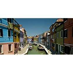 Boats in a canal Grand Canal Burano Venice Italy Poster Print (24 x 12)