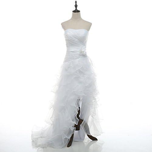 Honey Qiao Wedding Dresses Prom Gowns Hi Lo Organza Ruffles Beach Party