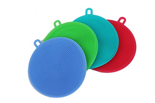 Blue Ridge Kitchenware | Silicone Rubber Dish Sponge | Multi-Purpose Antibacterial Scrubber | Heat Resistant | Ultra Soft, Durable Bristles | Multi Color | Easy to Clean & Dishwasher Safe | 4 Pack