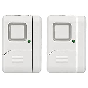 GE Personal Security Window/Door Alarm, DIY Home Protection, Burglar Alert, Magnetic Sensor, Off/Chime/Alarm, Easy Installation, Ideal for Home, Garage, Apartment, Dorm, RV and Office, (2 pack), 45115