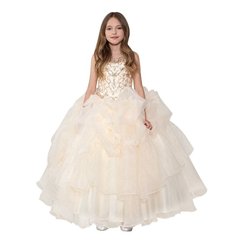 Calla Collection Little Girls Champagne Glitter Ruffled Pageant Dress 6 by Calla Collection USA