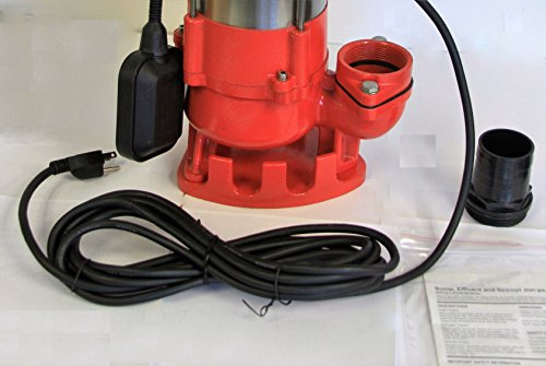 Hallmark Industries MA0387X-8 Sewage Pump with Float Switch, 5600 gpm, Stainless Steel, Heavy Duty, 3/4 hp, 115V, 38' Lift, 20' Cable by Hallmark Industries (Image #7)