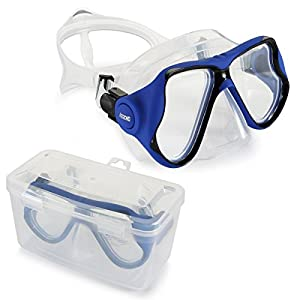 AEGEND Adult Diving Dive Mask Tempered Glass Lenses for Safety Anti Fog UV Protection Swim Mask with Free Protection Case