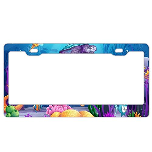 YEX Abstract Underwater World License Plate Frame Car Tag Frame Auto License Plate Holder 12